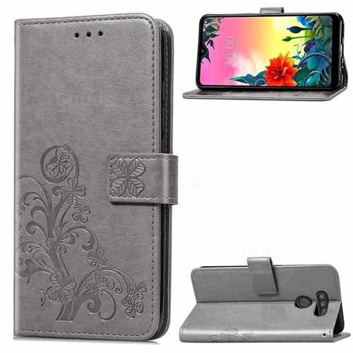 Embossing Imprint Four-Leaf Clover Leather Wallet Case for LG K50S - Grey