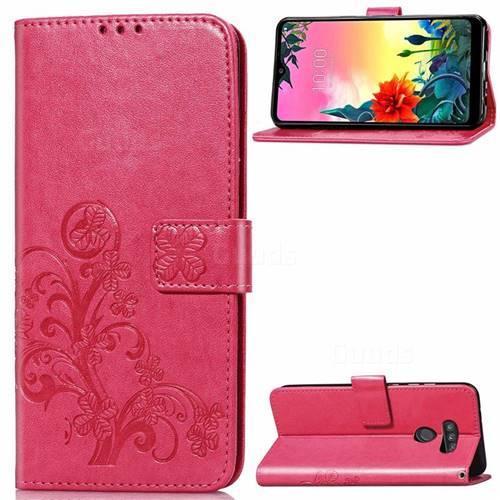 Embossing Imprint Four-Leaf Clover Leather Wallet Case for LG K50S - Rose