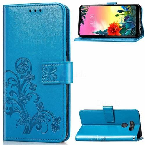 Embossing Imprint Four-Leaf Clover Leather Wallet Case for LG K50S - Blue
