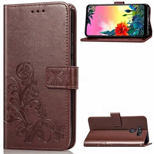 Embossing Imprint Four-Leaf Clover Leather Wallet Case for LG K50S - Brown