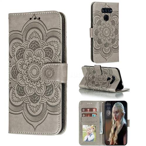 Intricate Embossing Datura Solar Leather Wallet Case for LG K50S - Gray