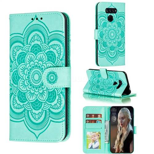 Intricate Embossing Datura Solar Leather Wallet Case for LG K50S - Green