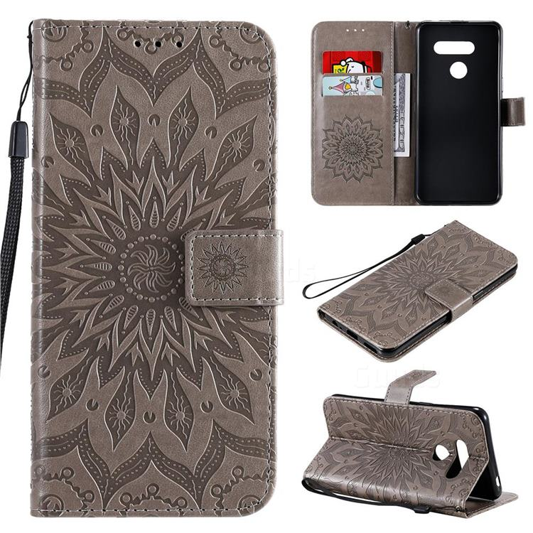 Embossing Sunflower Leather Wallet Case for LG K50S - Gray