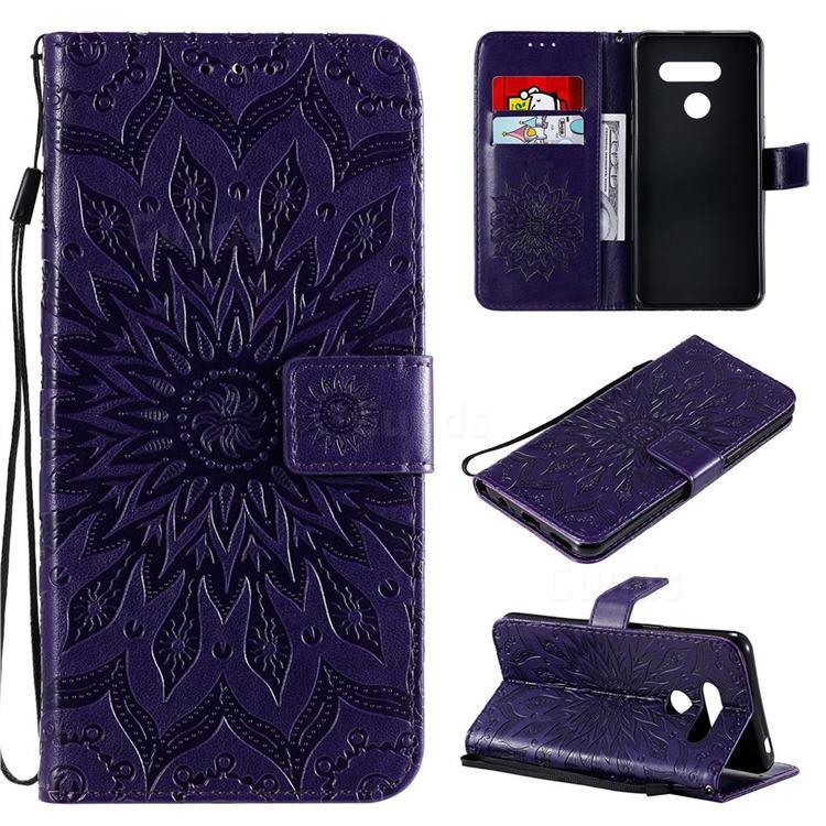 Embossing Sunflower Leather Wallet Case for LG K50S - Purple
