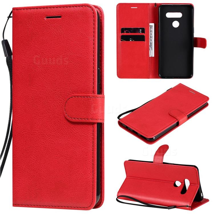 Retro Greek Classic Smooth PU Leather Wallet Phone Case for LG K50S - Red