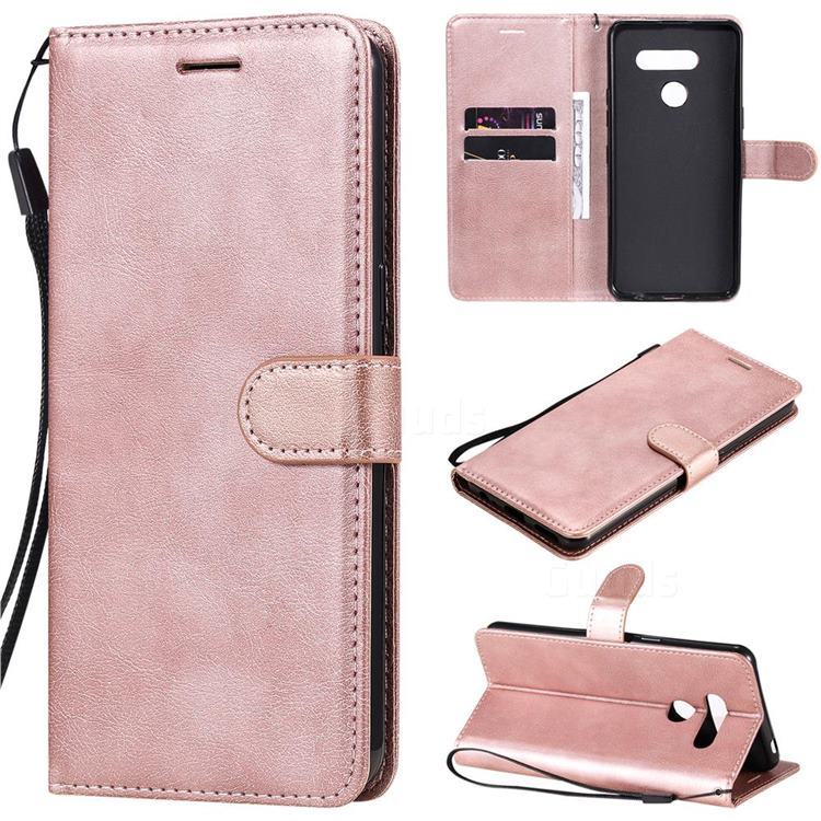 Retro Greek Classic Smooth PU Leather Wallet Phone Case for LG K50S - Rose Gold