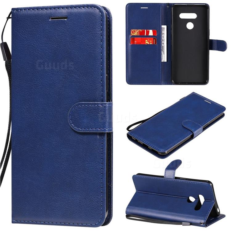 Retro Greek Classic Smooth PU Leather Wallet Phone Case for LG K50S - Blue