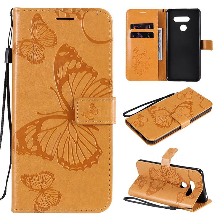 Embossing 3D Butterfly Leather Wallet Case for LG K50S - Yellow