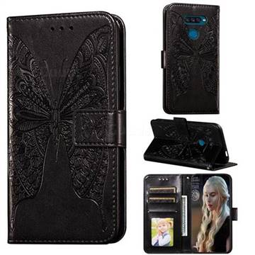 Intricate Embossing Vivid Butterfly Leather Wallet Case for LG K50S - Black