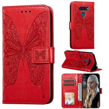 Intricate Embossing Vivid Butterfly Leather Wallet Case for LG K50S - Red