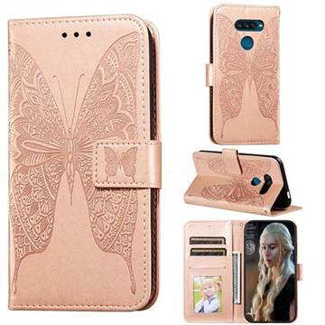Intricate Embossing Vivid Butterfly Leather Wallet Case for LG K50S - Rose Gold