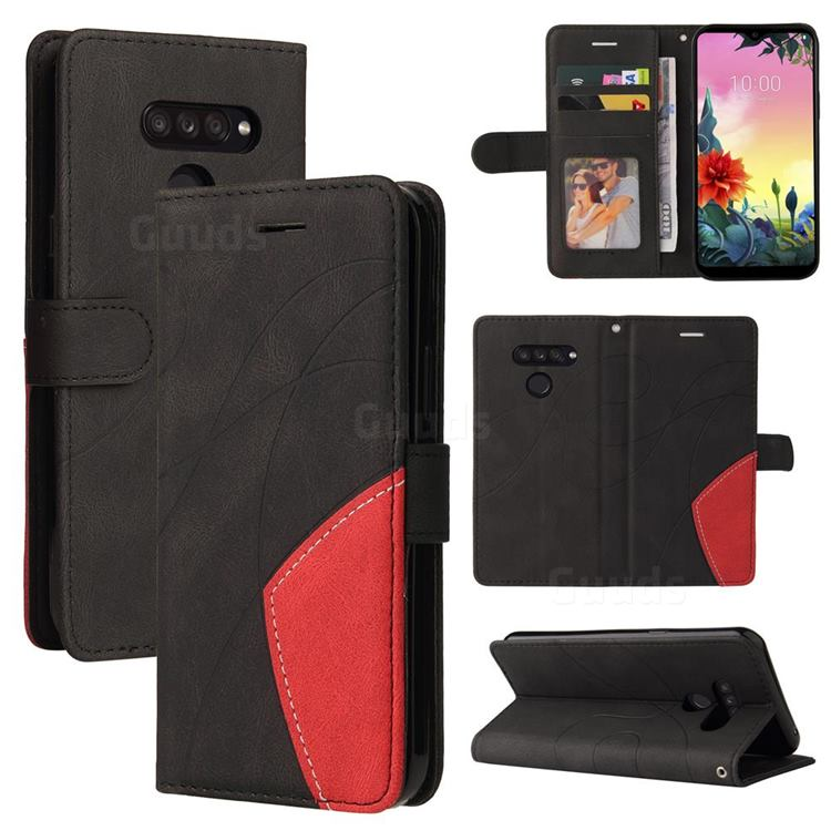 Luxury Two-color Stitching Leather Wallet Case Cover for LG K50S - Black