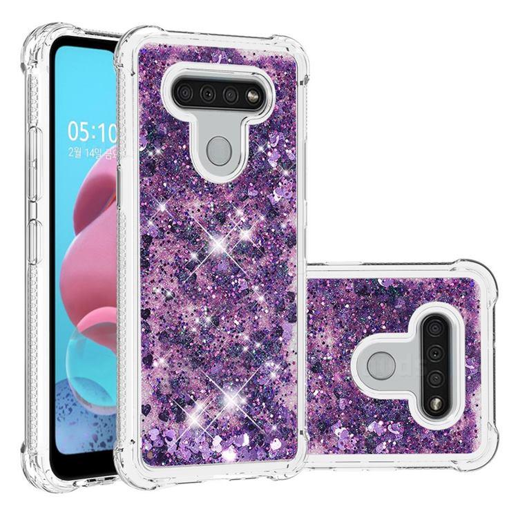Dynamic Liquid Glitter Sand Quicksand Star TPU Case for LG K51 - Purple