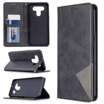 Prismatic Slim Magnetic Sucking Stitching Wallet Flip Cover for LG K51 - Black