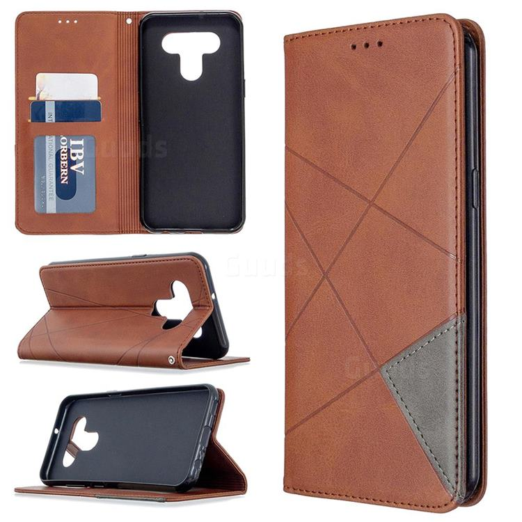 Prismatic Slim Magnetic Sucking Stitching Wallet Flip Cover for LG K51 - Brown