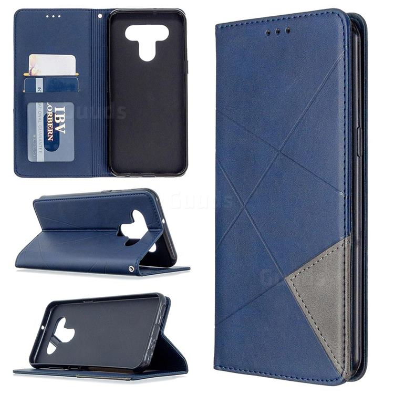 Prismatic Slim Magnetic Sucking Stitching Wallet Flip Cover for LG K51 - Blue