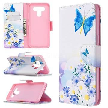 Butterflies Flowers Leather Wallet Case for LG K51