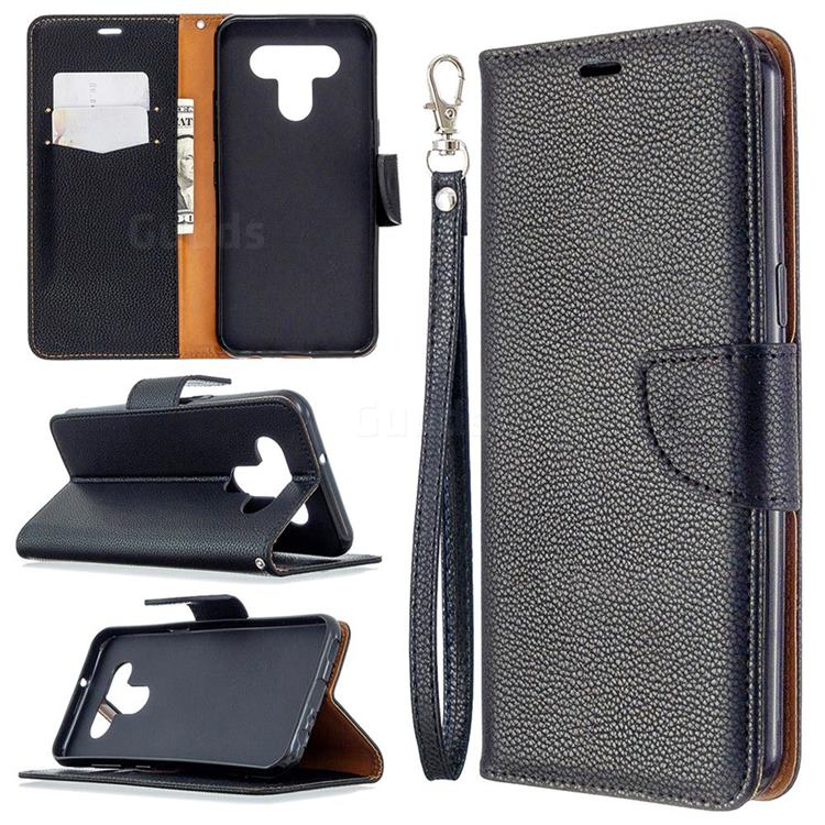 Classic Luxury Litchi Leather Phone Wallet Case for LG K51 - Black