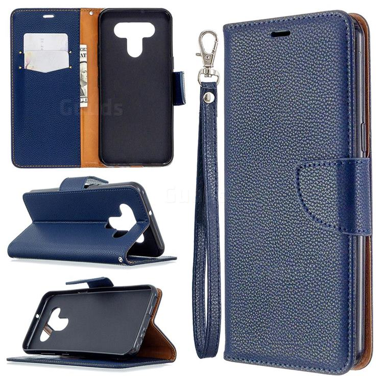 Classic Luxury Litchi Leather Phone Wallet Case for LG K51 - Blue