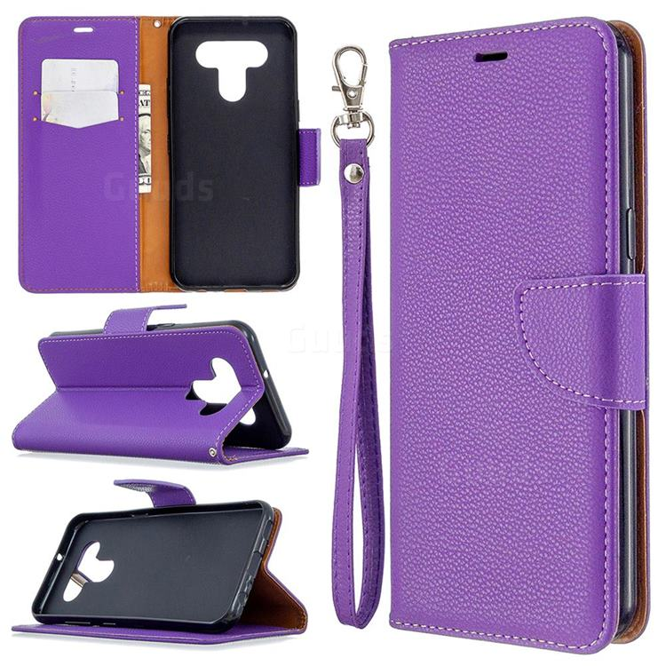 Classic Luxury Litchi Leather Phone Wallet Case for LG K51 - Purple