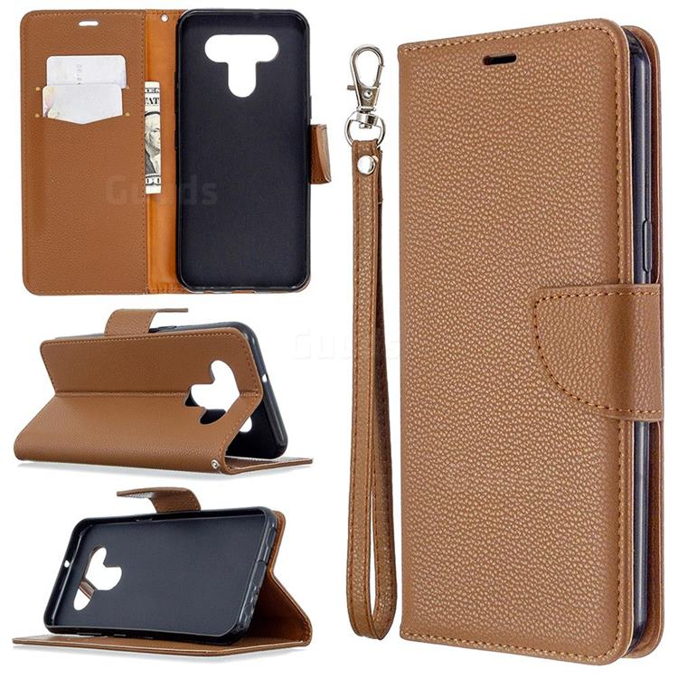 Classic Luxury Litchi Leather Phone Wallet Case for LG K51 - Brown