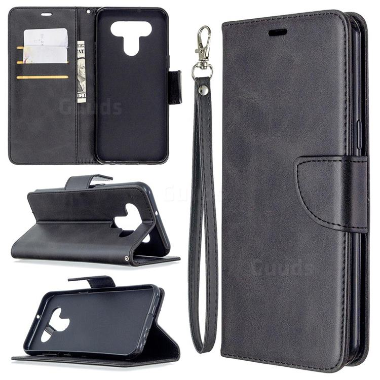 Classic Sheepskin PU Leather Phone Wallet Case for LG K51 - Black