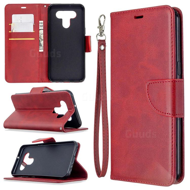 Classic Sheepskin PU Leather Phone Wallet Case for LG K51 - Red