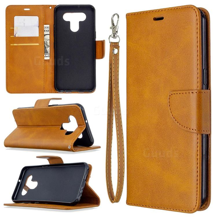 Classic Sheepskin PU Leather Phone Wallet Case for LG K51 - Yellow