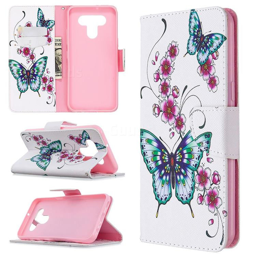 Peach Butterflies Leather Wallet Case for LG K51