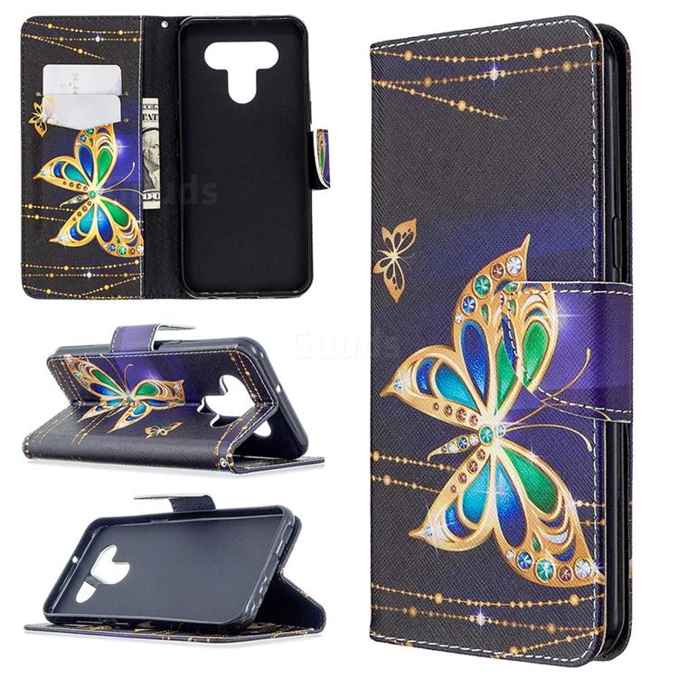 Golden Shining Butterfly Leather Wallet Case for LG K51