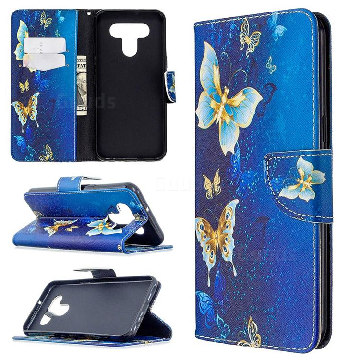 Golden Butterflies Leather Wallet Case for LG K51