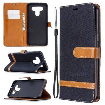 Jeans Cowboy Denim Leather Wallet Case for LG K51 - Black