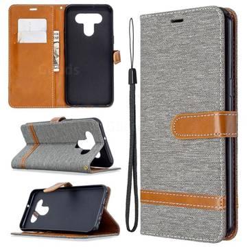 Jeans Cowboy Denim Leather Wallet Case for LG K51 - Gray