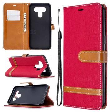Jeans Cowboy Denim Leather Wallet Case for LG K51 - Red