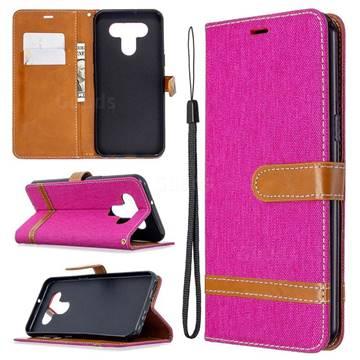 Jeans Cowboy Denim Leather Wallet Case for LG K51 - Rose