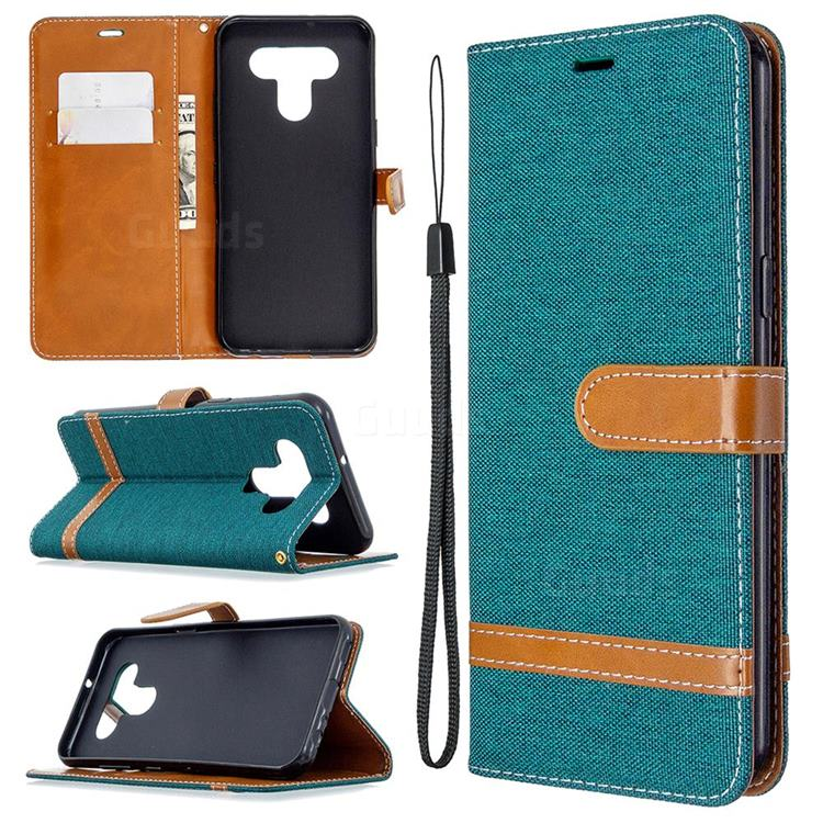 Jeans Cowboy Denim Leather Wallet Case for LG K51 - Green