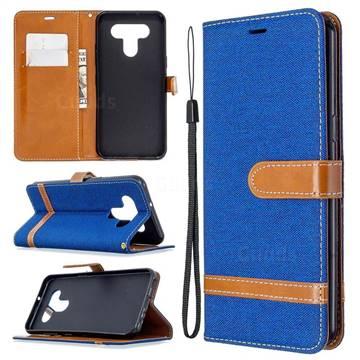 Jeans Cowboy Denim Leather Wallet Case for LG K51 - Sapphire
