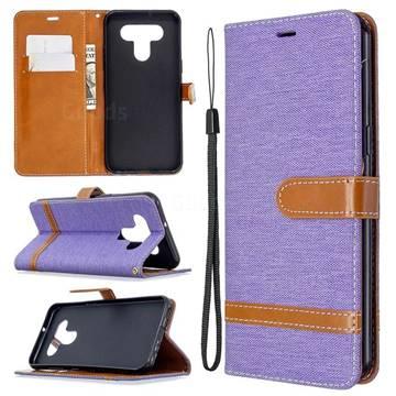 Jeans Cowboy Denim Leather Wallet Case for LG K51 - Purple