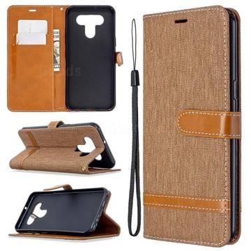 Jeans Cowboy Denim Leather Wallet Case for LG K51 - Brown