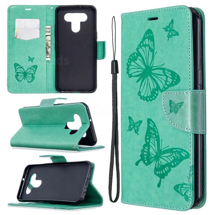 Embossing Double Butterfly Leather Wallet Case for LG K51 - Green