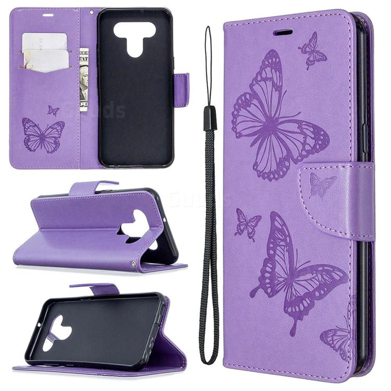 Embossing Double Butterfly Leather Wallet Case for LG K51 - Purple