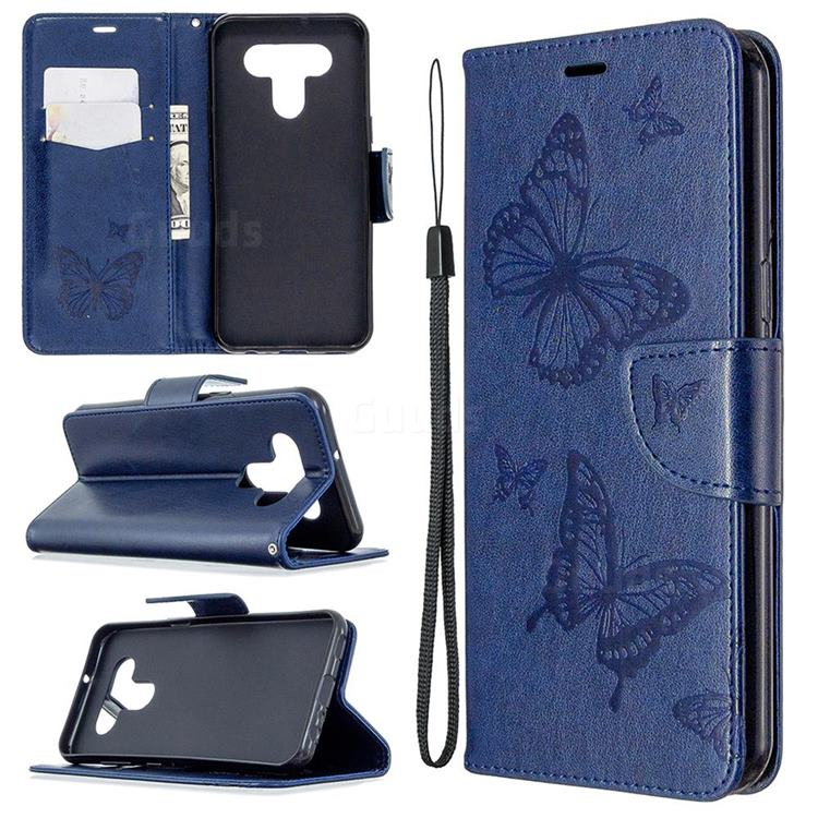 Embossing Double Butterfly Leather Wallet Case for LG K51 - Dark Blue