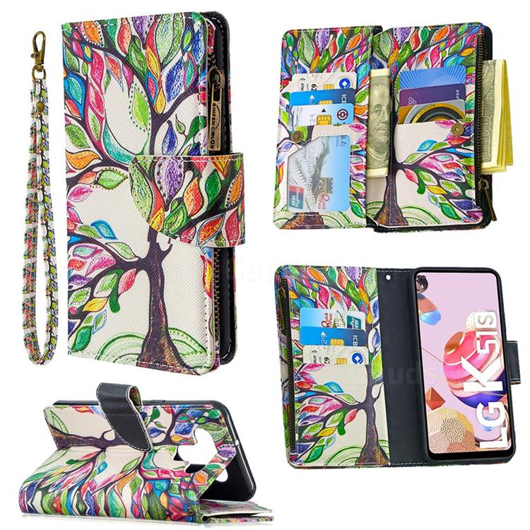 The Tree of Life Binfen Color BF03 Retro Zipper Leather Wallet Phone Case for LG K51