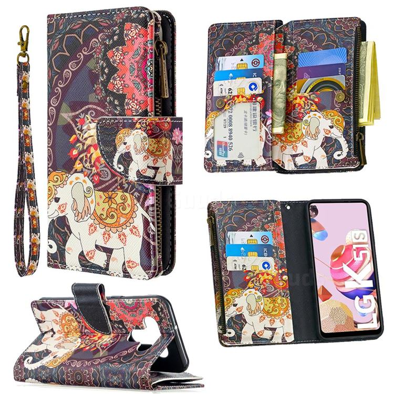 Totem Flower Elephant Binfen Color BF03 Retro Zipper Leather Wallet Phone Case for LG K51