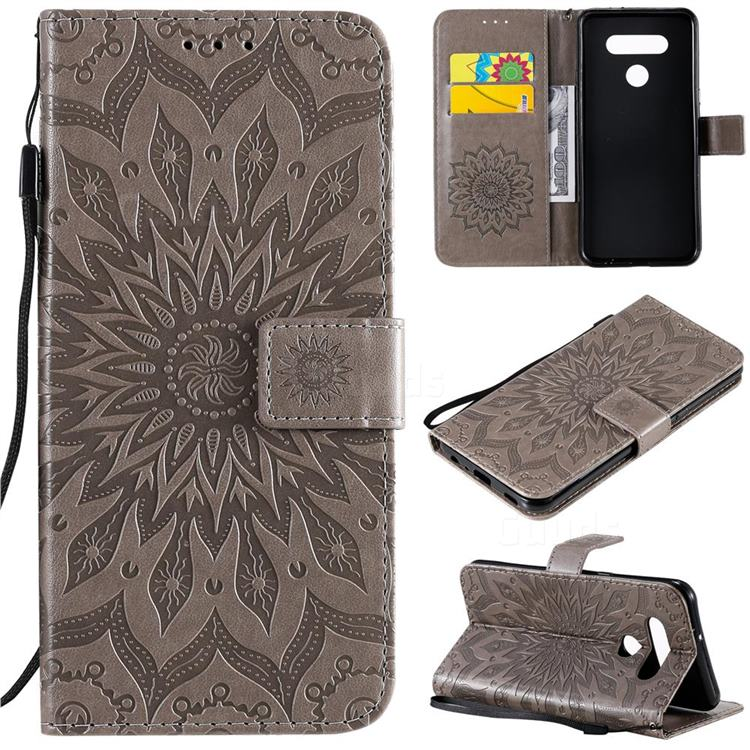 Embossing Sunflower Leather Wallet Case for LG K51 - Gray