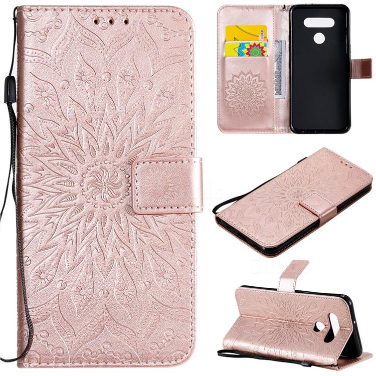 Embossing Sunflower Leather Wallet Case for LG K51 - Rose Gold