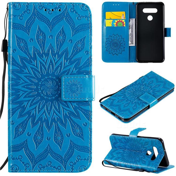 Embossing Sunflower Leather Wallet Case for LG K51 - Blue