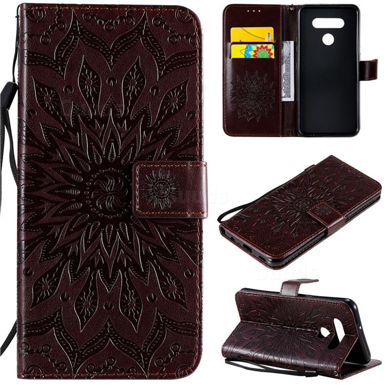 Embossing Sunflower Leather Wallet Case for LG K51 - Brown