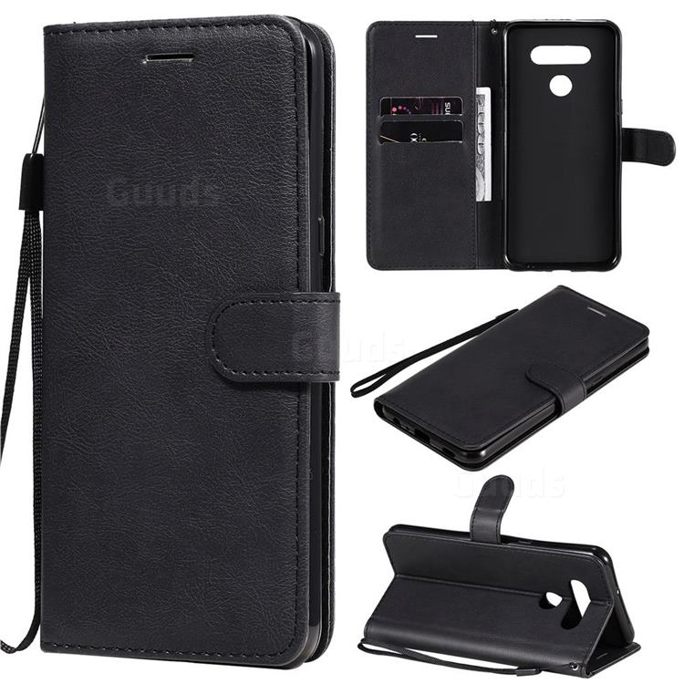 Retro Greek Classic Smooth PU Leather Wallet Phone Case for LG K51 - Black