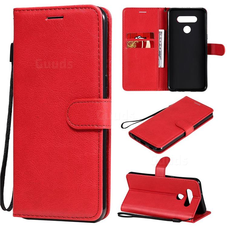 Retro Greek Classic Smooth PU Leather Wallet Phone Case for LG K51 - Red